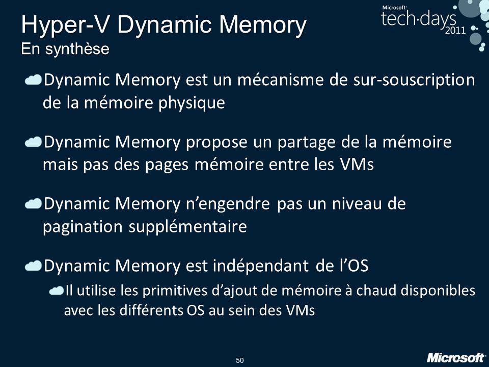 50 Hyper-V Dynamic Memory En synthèse Dynamic Memory est un mécanisme de sur-souscription de la mémoire physique Dynamic Memory propose un partage de
