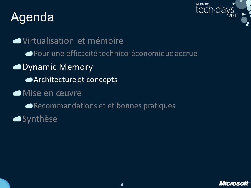 6 Agenda Virtualisation et mémoire Pour une efficacité technico-économique accrue Dynamic Memory Architecture et concepts Mise en œuvre Recommandation