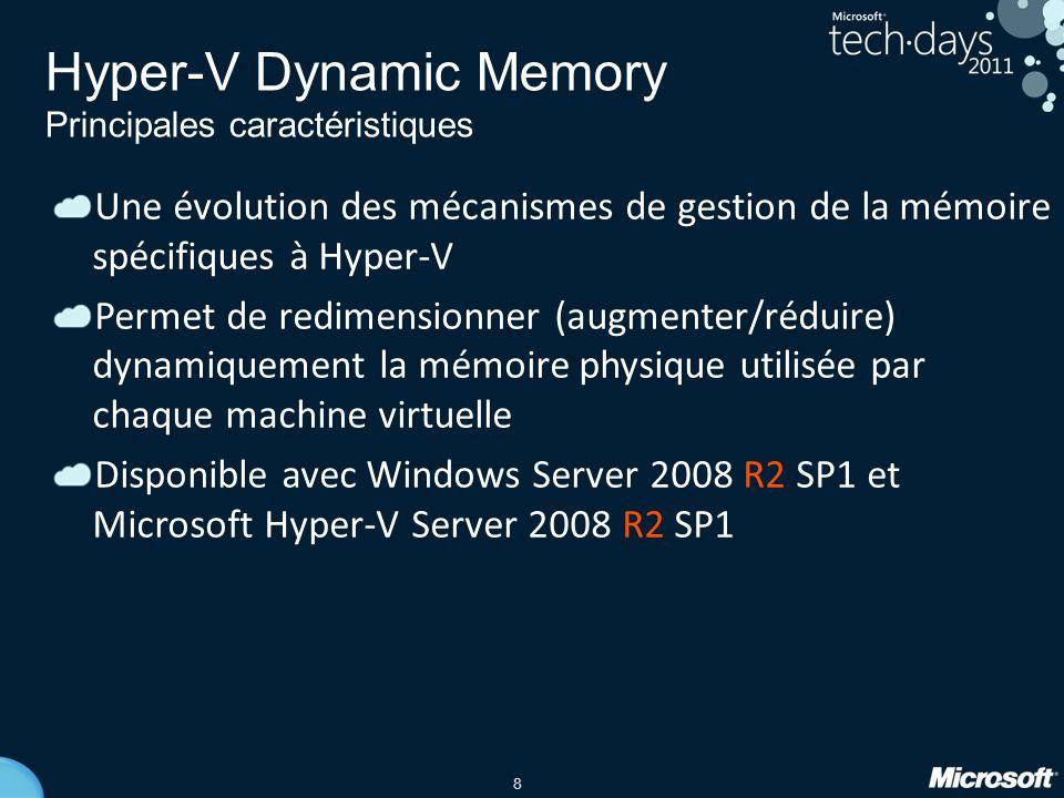 8 Hyper-V Dynamic Memory Principales caractéristiques Une évolution des mécanismes de gestion de la mémoire spécifiques à Hyper-V Permet de redimensio