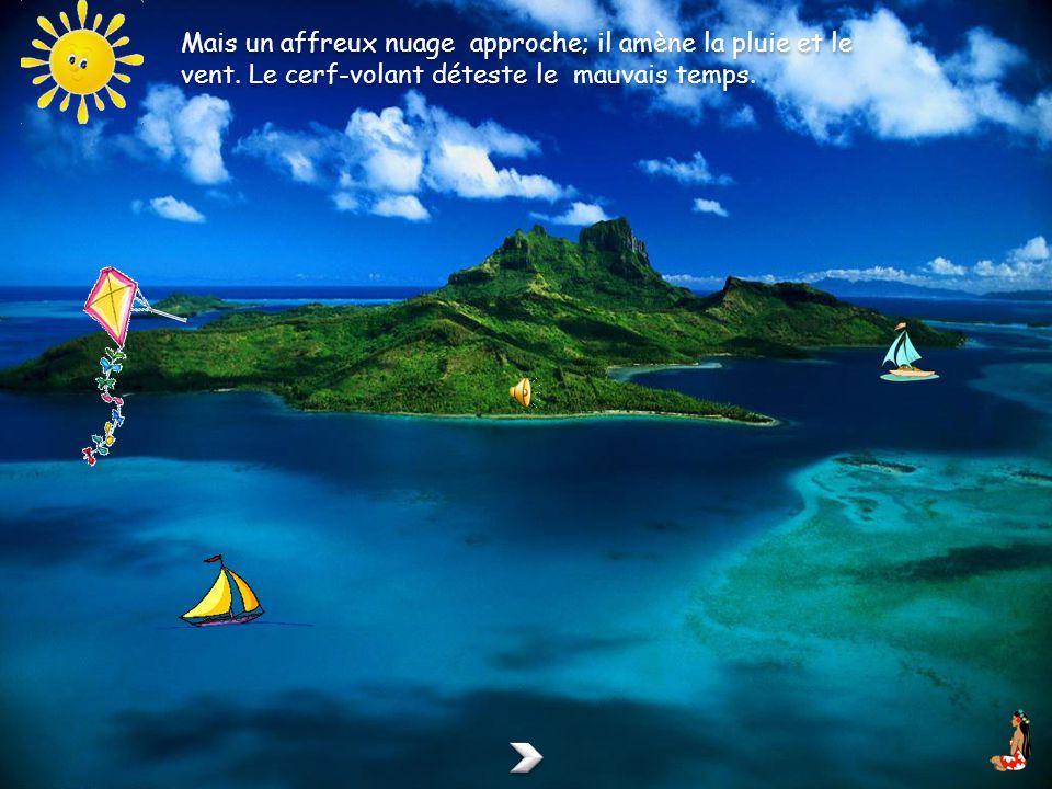 Le petit cerf-volant jaune est très heureux. Il se promène dans un beau ciel tout bleu et admire la mer vue den haut.