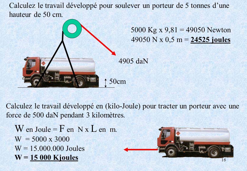 16 Calculez le travail développé en (kilo-Joule) pour tracter un porteur avec une force de 500 daN pendant 3 kilomètres. W en Joule = F en N x L en m.
