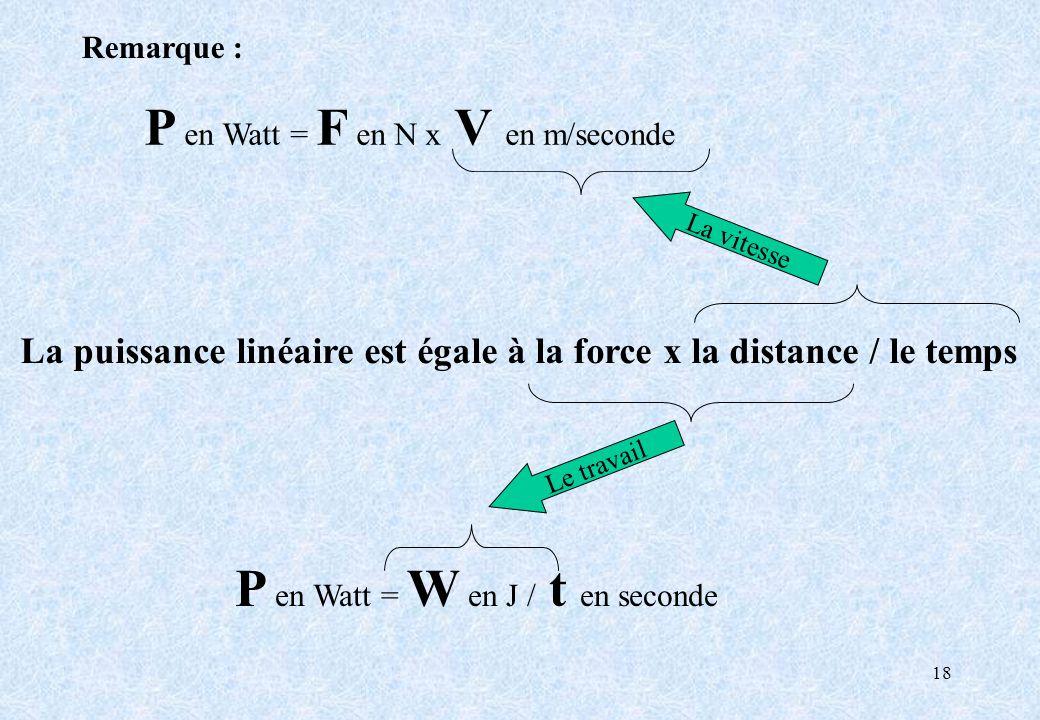 18 La puissance linéaire est égale à la force x la distance / le temps P en Watt = W en J / t en seconde Le travail P en Watt = F en N x V en m/second