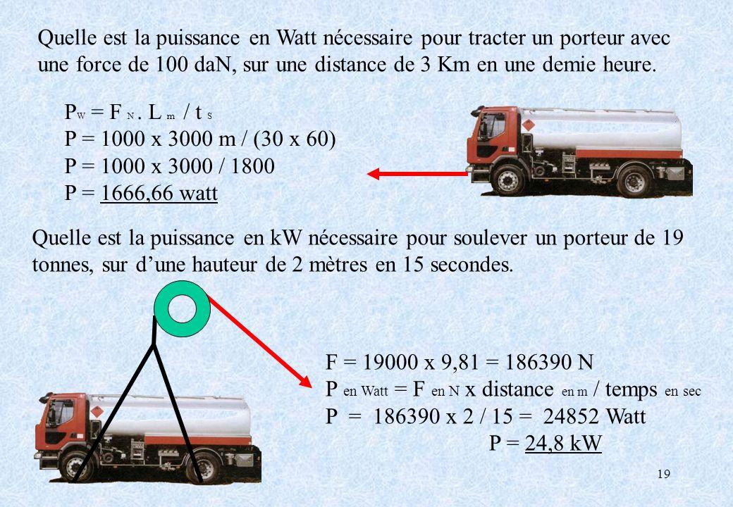 19 Quelle est la puissance en Watt nécessaire pour tracter un porteur avec une force de 100 daN, sur une distance de 3 Km en une demie heure. P W = F