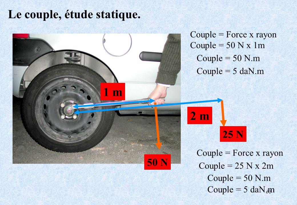 33 Le couple, étude statique. 1 m 50 N Couple = Force x rayon Couple = 50 N x 1m Couple = 50 N.m Couple = 5 daN.m 2 m 25 N Couple = Force x rayon Coup
