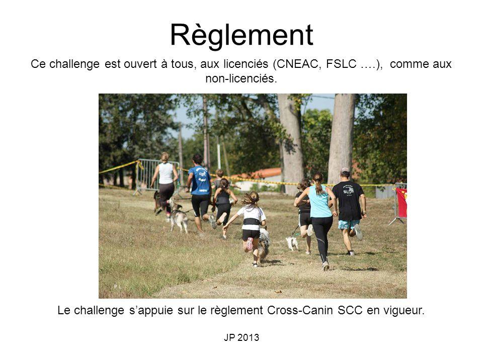 JP 2013 Ce challenge est ouvert à tous, aux licenciés (CNEAC, FSLC ….), comme aux non-licenciés. Le challenge sappuie sur le règlement Cross-Canin SCC