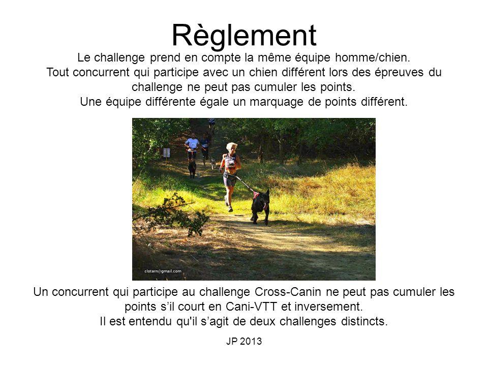 JP 2013 Le challenge prend en compte la même équipe homme/chien. Tout concurrent qui participe avec un chien différent lors des épreuves du challenge