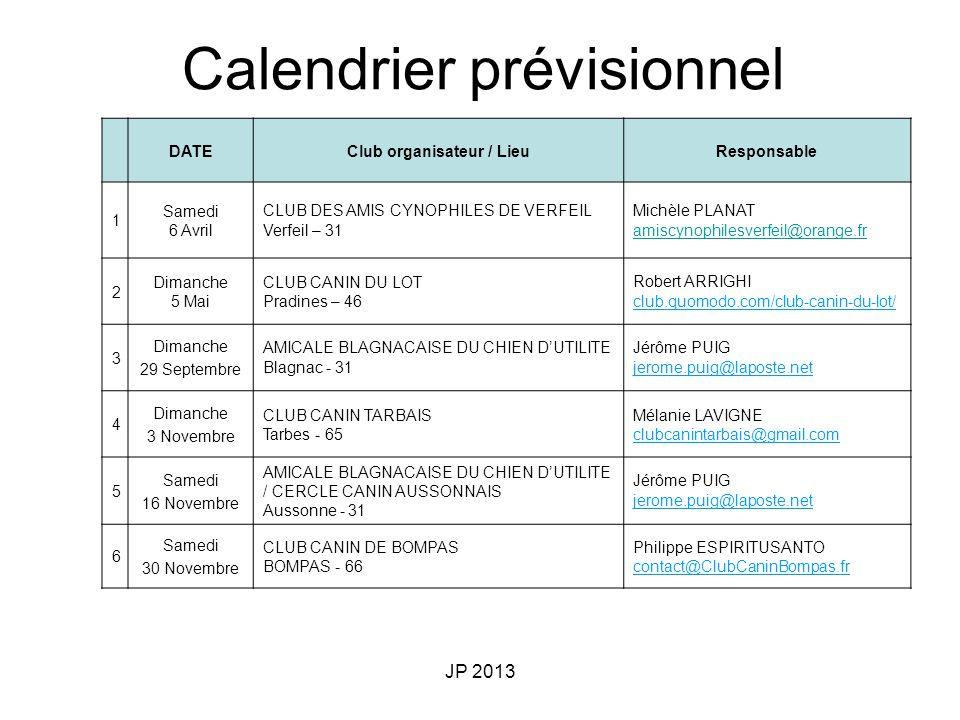 JP 2013 DATEClub organisateur / LieuResponsable 1 Samedi 6 Avril CLUB DES AMIS CYNOPHILES DE VERFEIL Verfeil – 31 Michèle PLANAT amiscynophilesverfeil