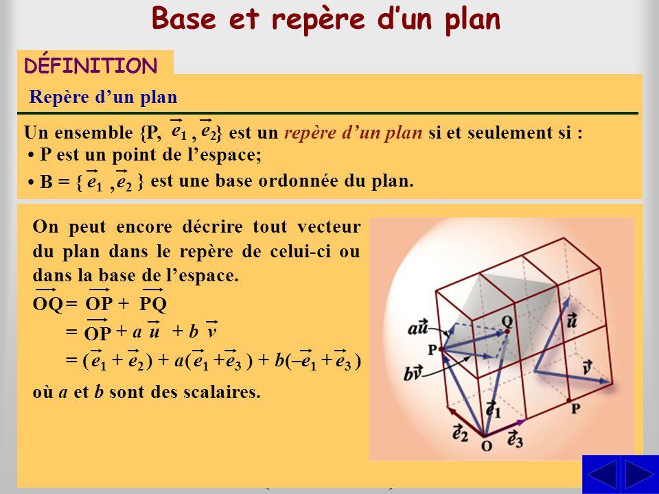 Base et repère dun plan } est une base dun plan si et seulement si les vecteurs Base dun plan Un ensemble B = { e1e1 sont linéairement indépendants. e
