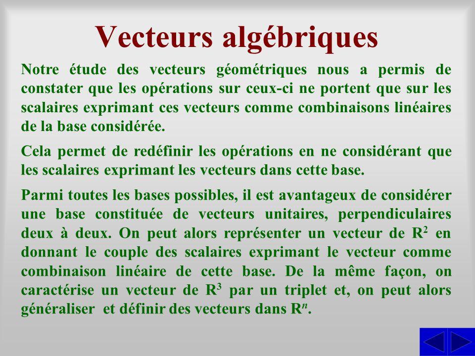 Vecteurs algébriques Notre étude des vecteurs géométriques nous a permis de constater que les opérations sur ceux-ci ne portent que sur les scalaires