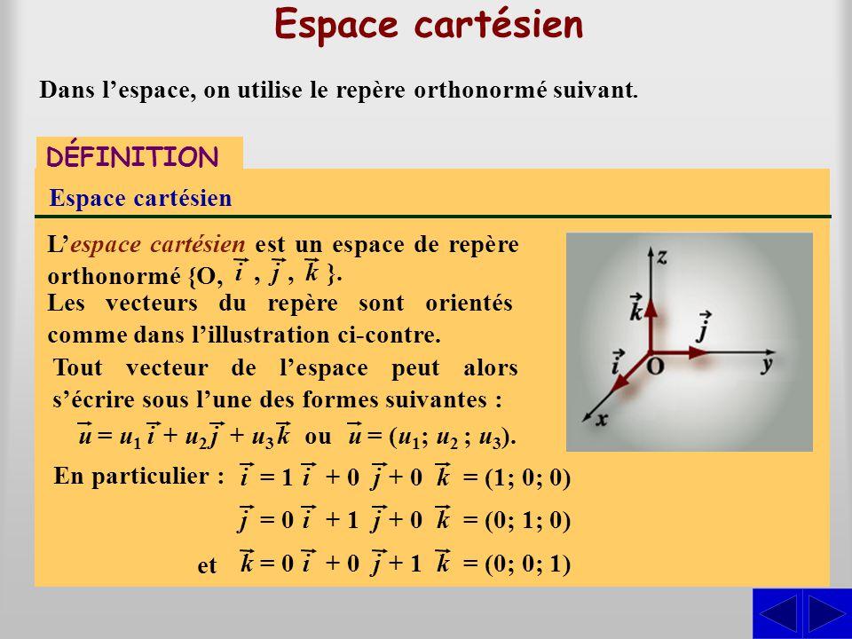 DÉFINITION Espace cartésien Lespace cartésien est un espace de repère orthonormé {O, Espace cartésien ij, }. Les vecteurs du repère sont orientés comm