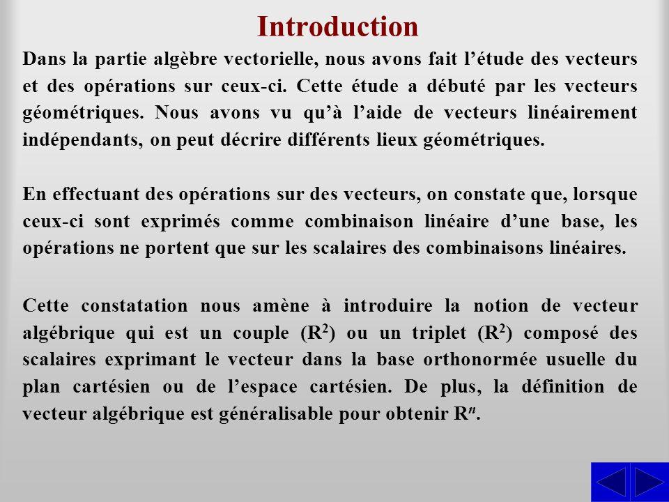 Introduction Dans la partie algèbre vectorielle, nous avons fait létude des vecteurs et des opérations sur ceux-ci. Cette étude a débuté par les vecte