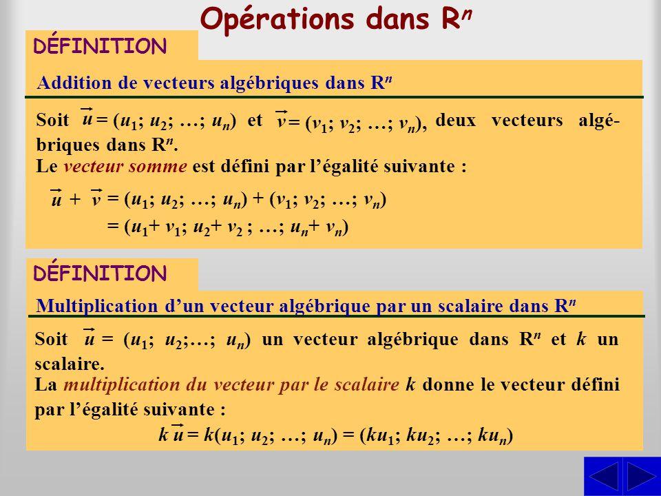 Opérations dans R n Addition de vecteurs algébriques dans R n Le vecteur somme est défini par légalité suivante : deux vecteurs algé- briques dans R n