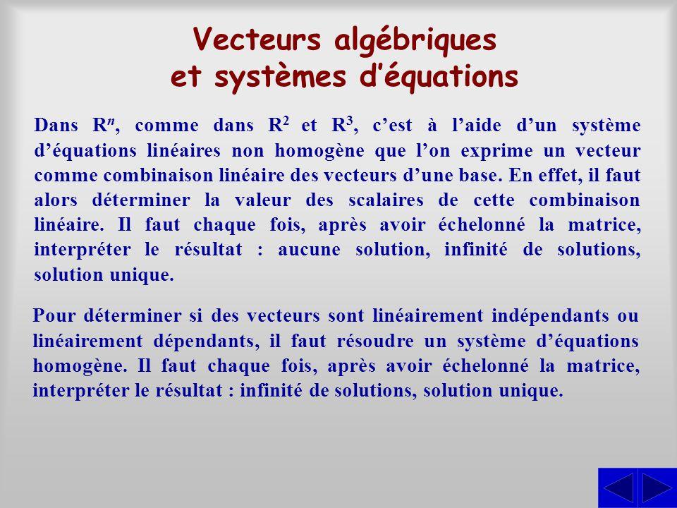 Vecteurs algébriques et systèmes déquations Dans R n, comme dans R 2 et R 3, cest à laide dun système déquations linéaires non homogène que lon exprim