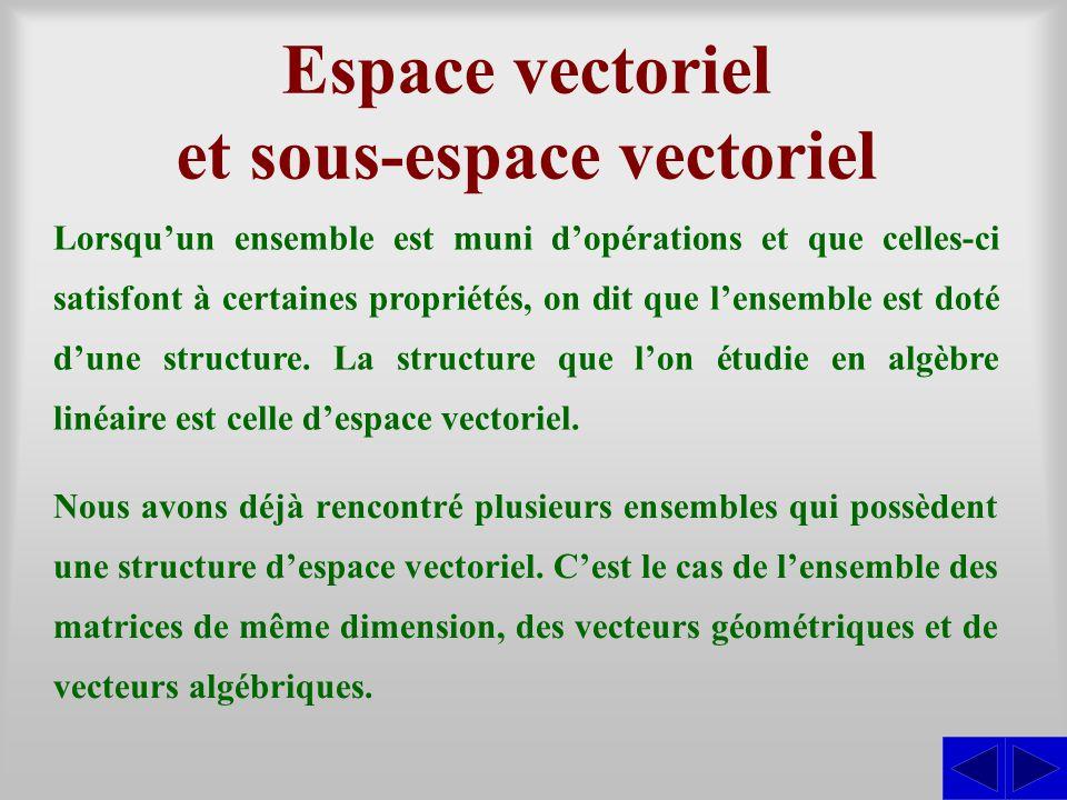 Espace vectoriel et sous-espace vectoriel Lorsquun ensemble est muni dopérations et que celles-ci satisfont à certaines propriétés, on dit que lensemb