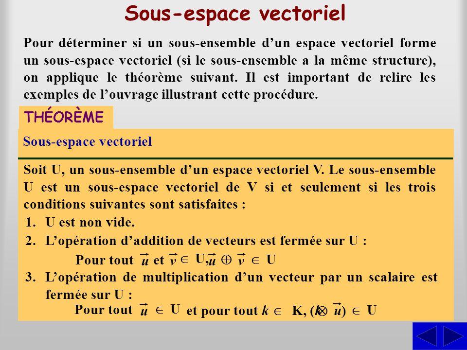 Sous-espace vectoriel THÉORÈME Sous-espace vectoriel Soit U, un sous-ensemble dun espace vectoriel V. Le sous-ensemble U est un sous-espace vectoriel