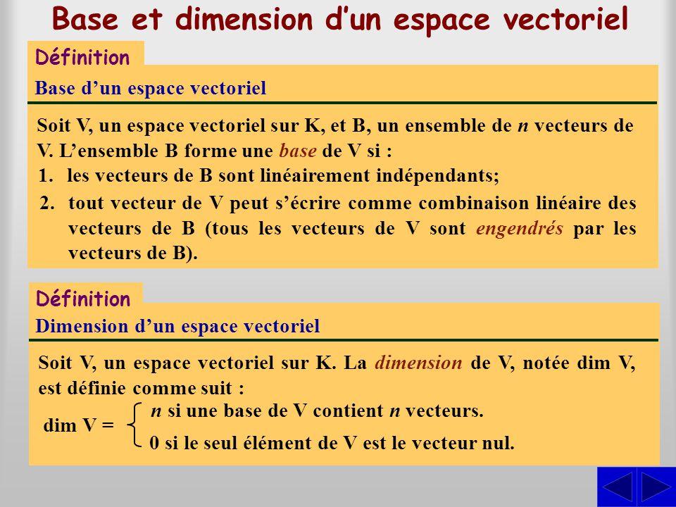 Base et dimension dun espace vectoriel Définition Base dun espace vectoriel Soit V, un espace vectoriel sur K, et B, un ensemble de n vecteurs de V. L