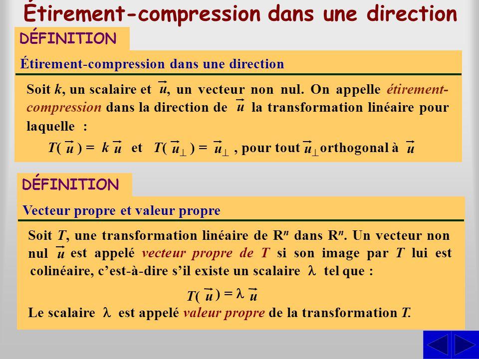 Étirement-compression dans une direction DÉFINITION la transformation linéaire pour laquelle :, un vecteur non nul. On appelle étirement- compression