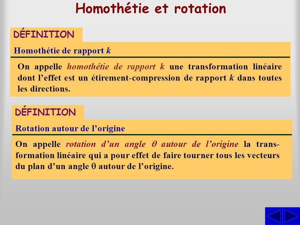 Homothétie et rotation On appelle homothétie de rapport k une transformation linéaire dont leffet est un étirement-compression de rapport k dans toute