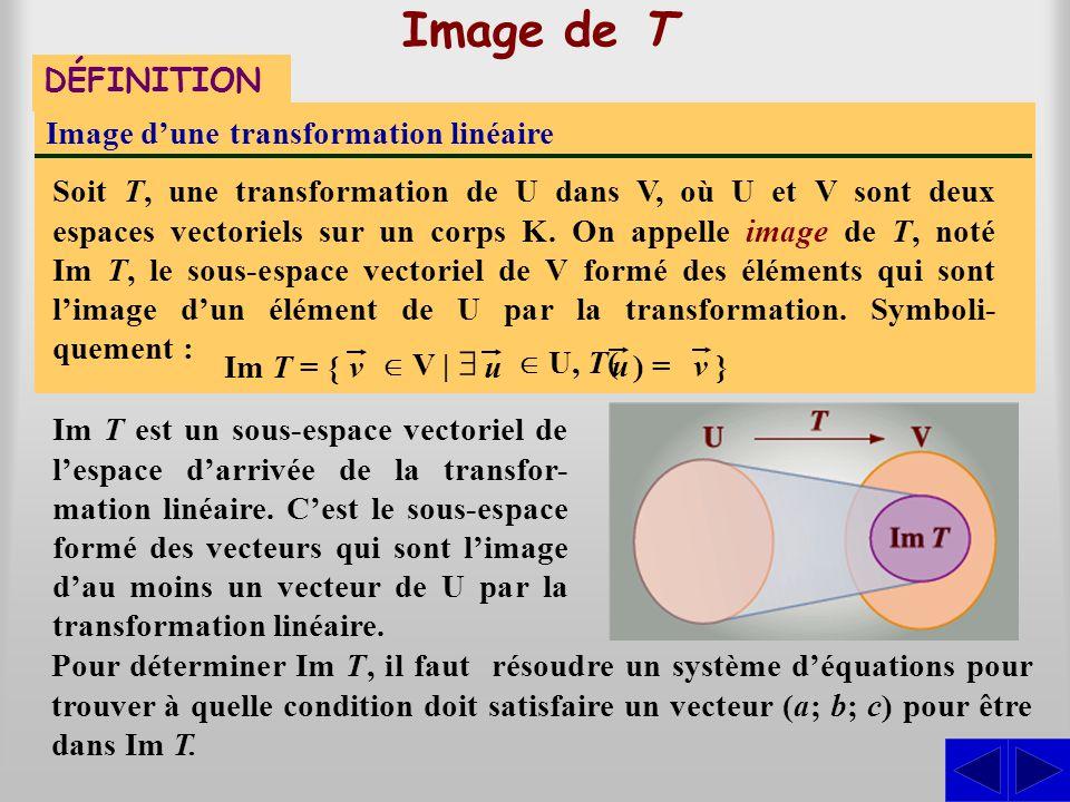 Image de T DÉFINITION Image dune transformation linéaire Soit T, une transformation de U dans V, où U et V sont deux espaces vectoriels sur un corps K