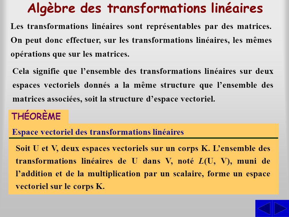 Algèbre des transformations linéaires Les transformations linéaires sont représentables par des matrices. On peut donc effectuer, sur les transformati