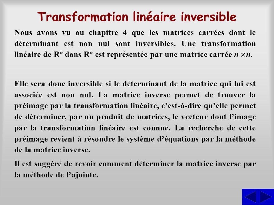 Transformation linéaire inversible Nous avons vu au chapitre 4 que les matrices carrées dont le déterminant est non nul sont inversibles. Une transfor
