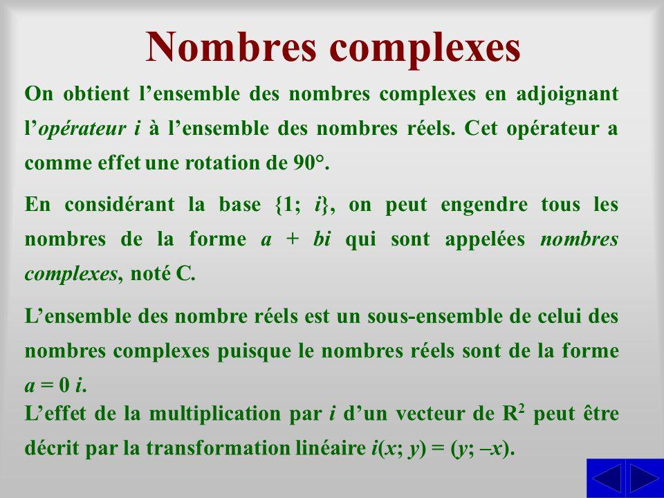 Nombres complexes On obtient lensemble des nombres complexes en adjoignant lopérateur i à lensemble des nombres réels. Cet opérateur a comme effet une