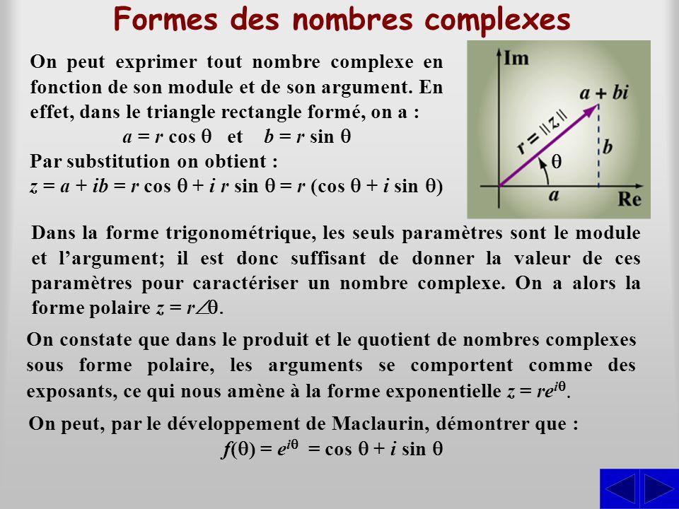 Formes des nombres complexes On peut exprimer tout nombre complexe en fonction de son module et de son argument. En effet, dans le triangle rectangle
