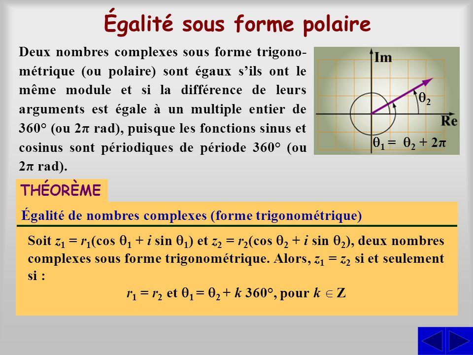Égalité sous forme polaire Égalité de nombres complexes (forme trigonométrique) Soit z 1 = r 1 (cos 1 + i sin 1 ) et z 2 = r 2 (cos 2 + i sin 2 ), deu
