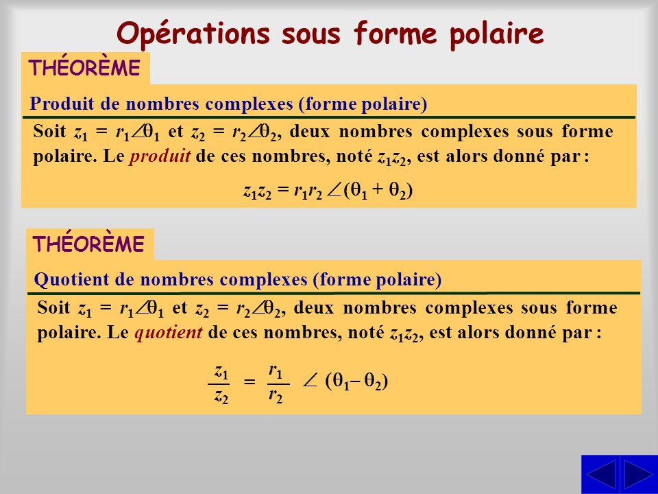 Opérations sous forme polaire Produit de nombres complexes (forme polaire) THÉORÈME Soit z 1 = r 1 1 et z 2 = r 2 2, deux nombres complexes sous forme