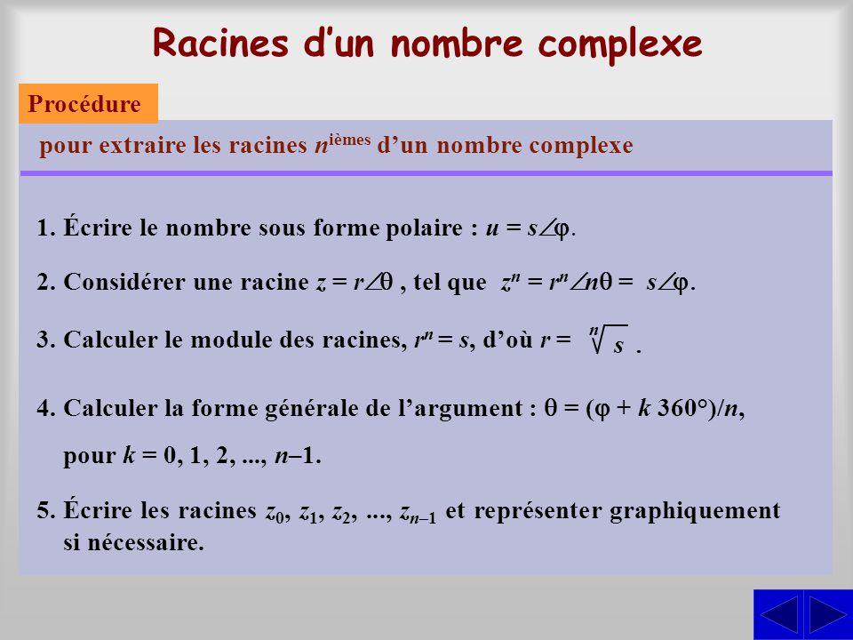 Racines dun nombre complexe pour extraire les racines n ièmes dun nombre complexe 1.Écrire le nombre sous forme polaire : u = s 2.Considérer une racin