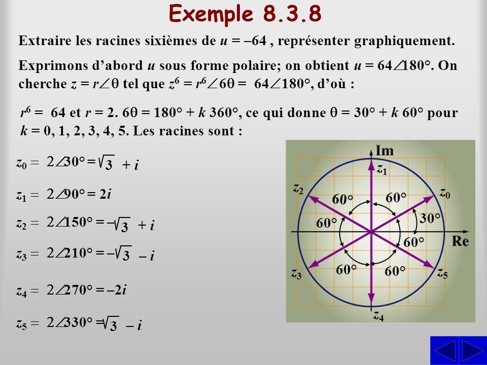 Exemple 8.3.8 Extraire les racines sixièmes de u = –64, représenter graphiquement. r 6 = 64 et r = 2. 6 = 180° + k 360°, ce qui donne = 30° + k 60° po