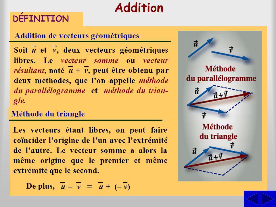 Addition DÉFINITION Addition de vecteurs géométriques Les vecteurs étant libres, on peut faire coïncider leurs origines. Le vecteur somme est alors do