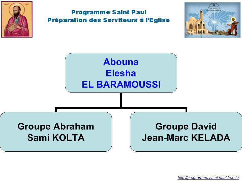 http://programme.saint.paul.free.fr/ Abouna Elesha EL BARAMOUSSI Groupe Abraham Sami KOLTA Groupe David Jean-Marc KELADA