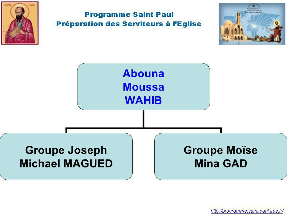 http://programme.saint.paul.free.fr/ Abouna Moussa WAHIB Groupe Joseph Michael MAGUED Groupe Moïse Mina GAD