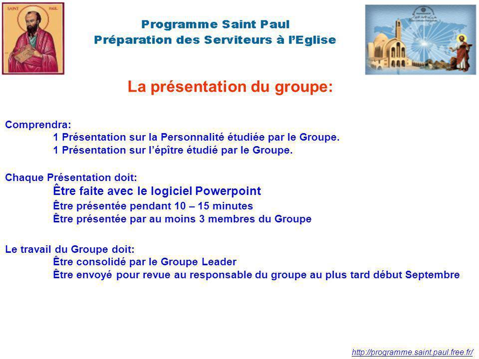 http://programme.saint.paul.free.fr/ La présentation du groupe: Comprendra: 1 Présentation sur la Personnalité étudiée par le Groupe.