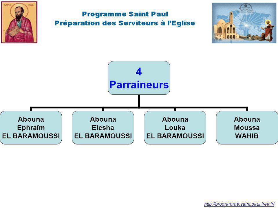 http://programme.saint.paul.free.fr/ 4 Parraineurs Abouna Ephraïm EL BARAMOUSSI Abouna Elesha EL BARAMOUSSI Abouna Louka EL BARAMOUSSI Abouna Moussa WAHIB