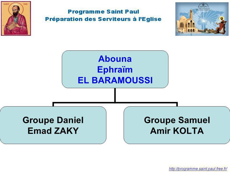 http://programme.saint.paul.free.fr/ Abouna Ephraïm EL BARAMOUSSI Groupe Daniel Emad ZAKY Groupe Samuel Amir KOLTA