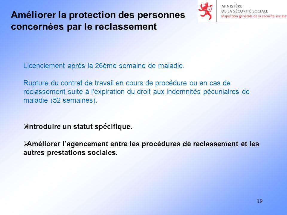 19 Améliorer la protection des personnes concernées par le reclassement Introduire un statut spécifique.
