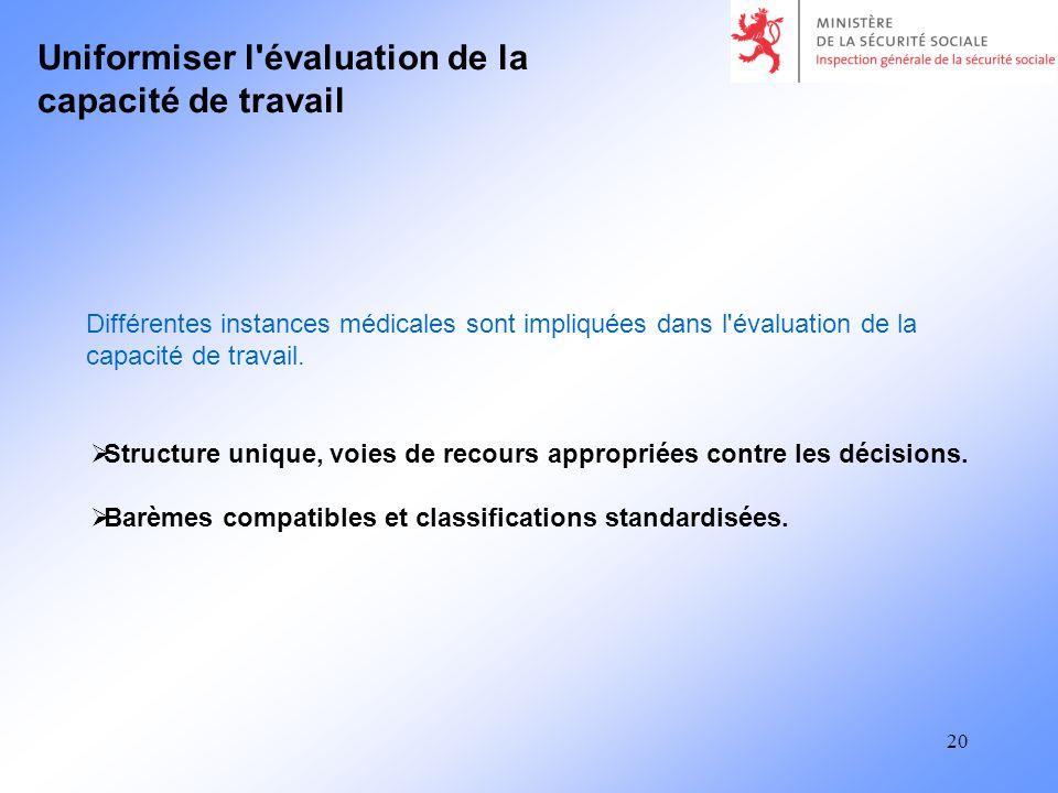 20 Uniformiser l évaluation de la capacité de travail Structure unique, voies de recours appropriées contre les décisions.