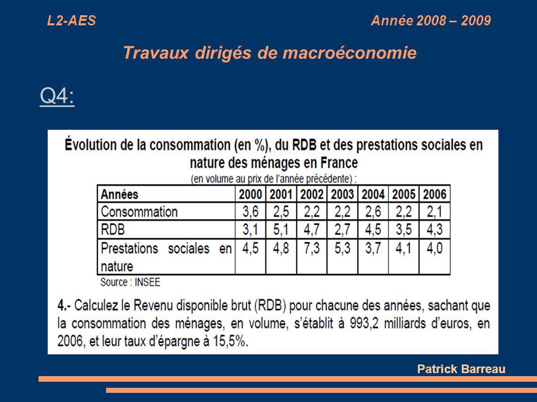 L2-AES Année 2008 – 2009 Travaux dirigés de macroéconomie Q4: Patrick Barreau