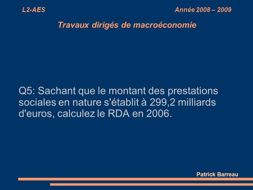 L2-AES Année 2008 – 2009 Travaux dirigés de macroéconomie Q5: Sachant que le montant des prestations sociales en nature s'établit à 299,2 milliards d'