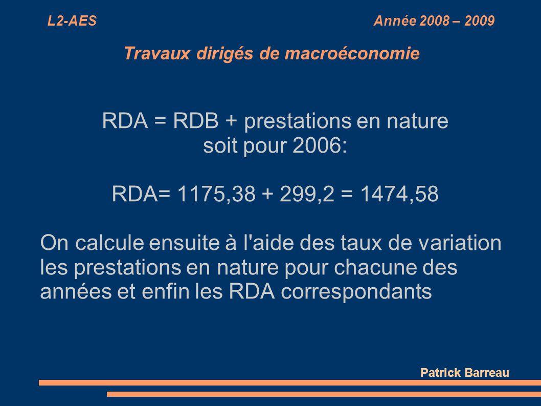 L2-AES Année 2008 – 2009 Travaux dirigés de macroéconomie RDA = RDB + prestations en nature soit pour 2006: RDA= 1175,38 + 299,2 = 1474,58 On calcule