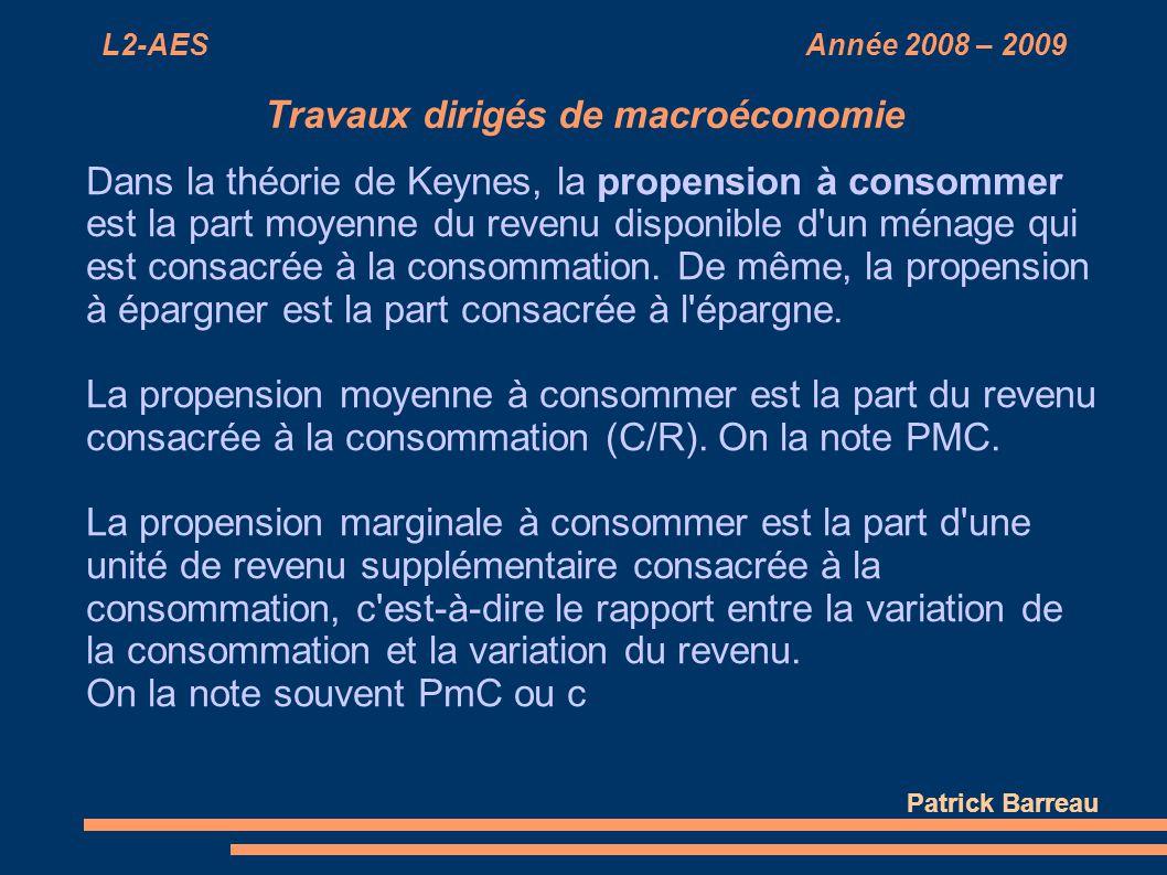 L2-AES Année 2008 – 2009 Travaux dirigés de macroéconomie Dans la théorie de Keynes, la propension à consommer est la part moyenne du revenu disponibl