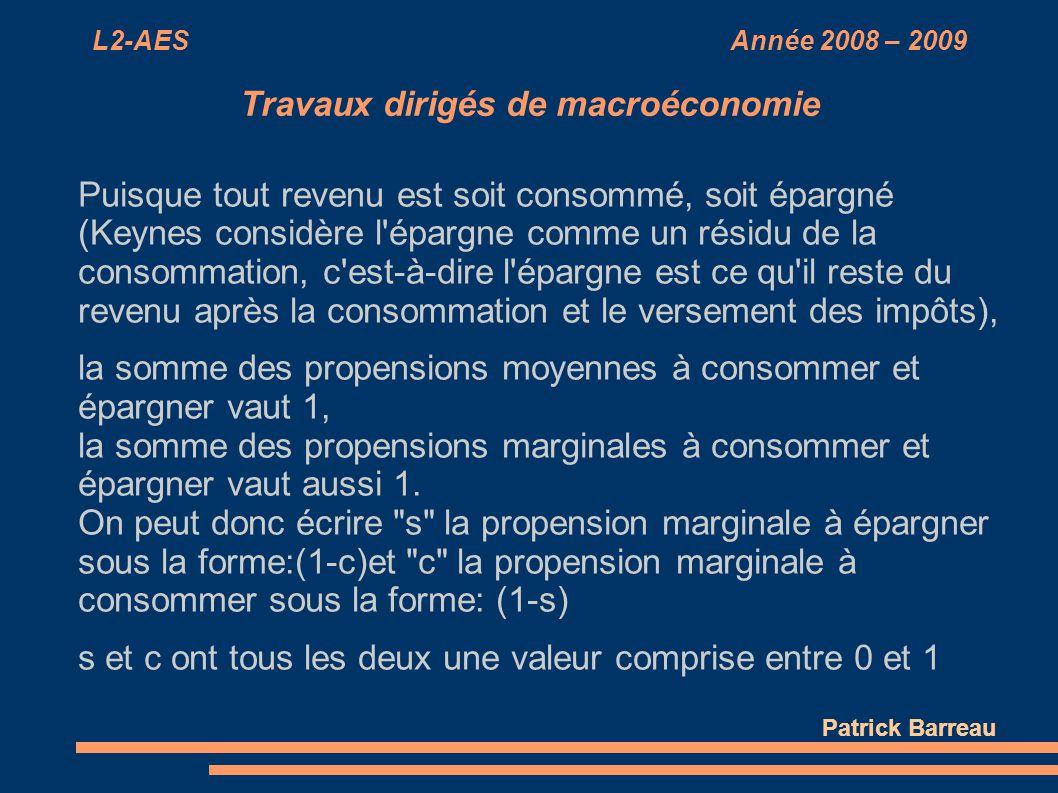 L2-AES Année 2008 – 2009 Travaux dirigés de macroéconomie Puisque tout revenu est soit consommé, soit épargné (Keynes considère l'épargne comme un rés