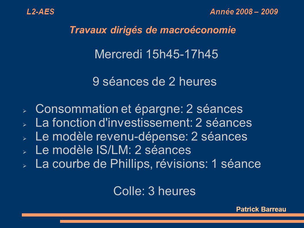 L2-AES Année 2008 – 2009 Travaux dirigés de macroéconomie Mercredi 15h45-17h45 9 séances de 2 heures Consommation et épargne: 2 séances La fonction d'