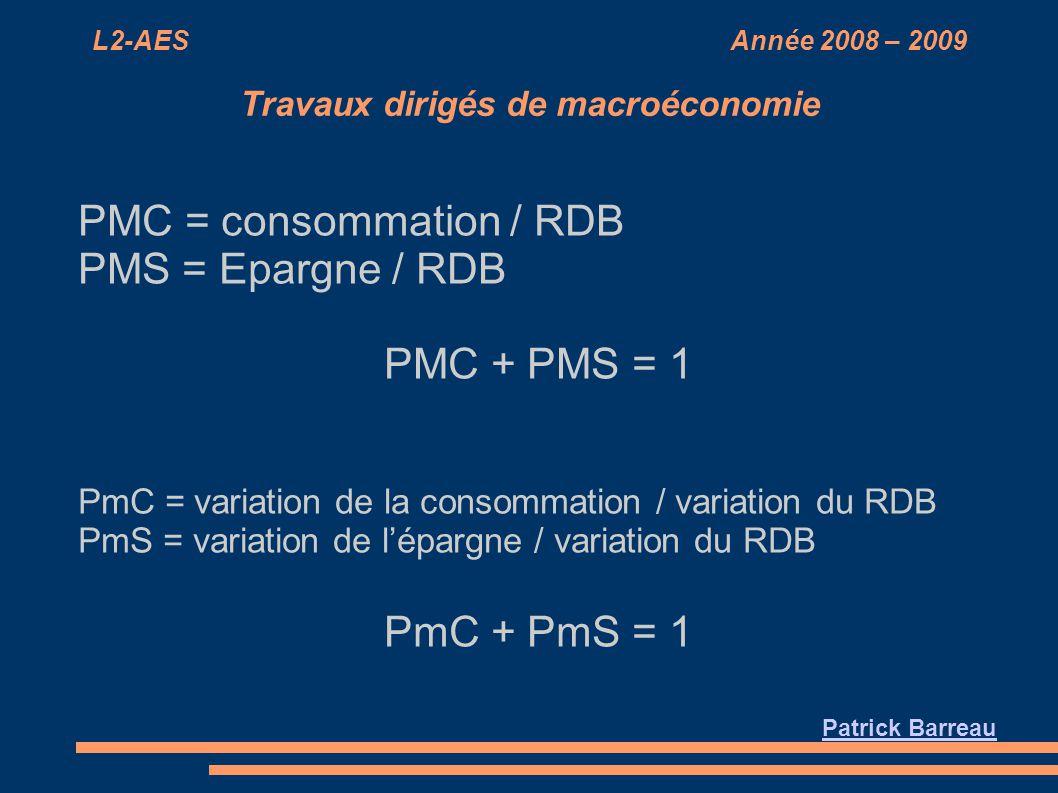 L2-AES Année 2008 – 2009 Travaux dirigés de macroéconomie PMC = consommation / RDB PMS = Epargne / RDB PMC + PMS = 1 PmC = variation de la consommatio
