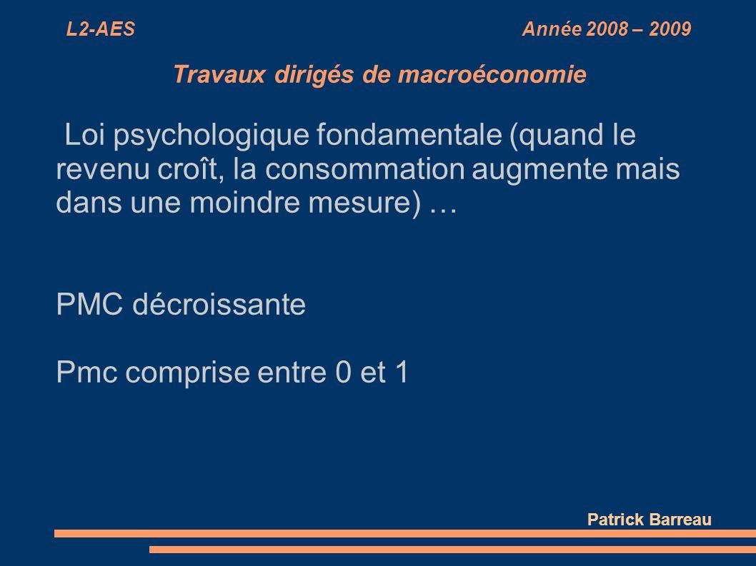 L2-AES Année 2008 – 2009 Travaux dirigés de macroéconomie Loi psychologique fondamentale (quand le revenu croît, la consommation augmente mais dans un