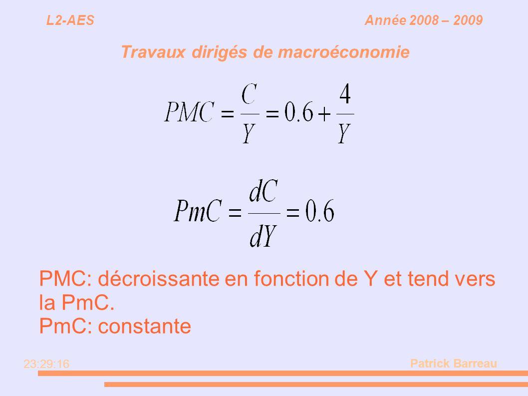 L2-AES Année 2008 – 2009 Travaux dirigés de macroéconomie PMC: décroissante en fonction de Y et tend vers la PmC. PmC: constante Patrick Barreau 23:29