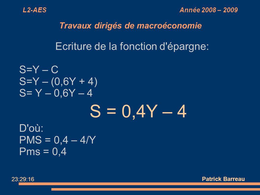 L2-AES Année 2008 – 2009 Travaux dirigés de macroéconomie Ecriture de la fonction d'épargne: S=Y – C S=Y – (0,6Y + 4) S= Y – 0,6Y – 4 D'où: PMS = 0,4