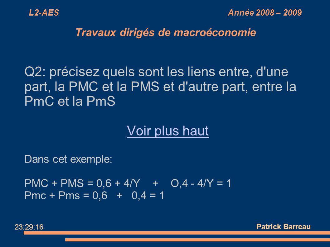 L2-AES Année 2008 – 2009 Travaux dirigés de macroéconomie Q2: précisez quels sont les liens entre, d'une part, la PMC et la PMS et d'autre part, entre